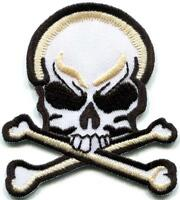 Skull & Crossbones retro biker tattoo gothic applique iron-on patch new S-1231