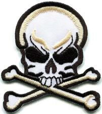 Skull & Crossbones retro biker tattoo gothic applique iron-on patch new S-1231