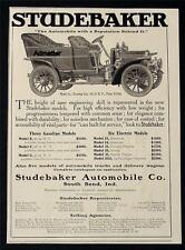 1906 STUDEBAKER LINE MODEL E F & G ANTIQUE MOTOR CAR AD NRMT ELECTRIC AUTO ART