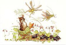 """Rat Princess Coach Beetles Grasshoppers Butterfly Sweden"""" Postcard Gunilla Boren"""