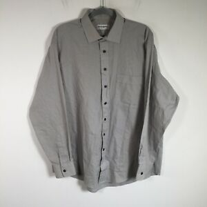 Yves Saint Laurent YSL mens button up shirt size 43 grey long sleeve collared