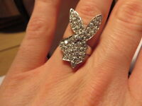 Playboy Bunny Hase 925 Sterling Silber Ring Designer Zirkonia Braunes Aúge Chic