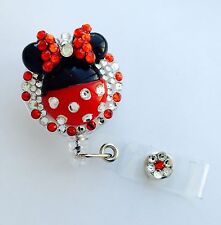 Cute Full Bling Minnie Mouse retractable ID HOLDER badge reel lanyard-alligator