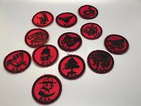 """Lot 12 Vintage Boy Scout BSA Bat Patrol Badges Patches  Red 2"""""""