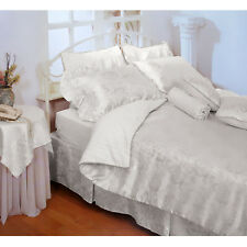 4 Pce - New Luxury Jacquard Rose Quilt Cover + 2 Pillowcases + Valance QUEEN