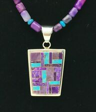 Spring Turquoise & Sugilite Inlay Sterling Pendant Necklace *Tommy Jackson*