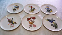 Set of 6 Syracuse China AMERICAN SONGBIRDS PLATES- all different birds