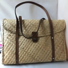 Kate Spade Vintage Woven Bamboo straw wicker bag shopper tote leather straps 90s
