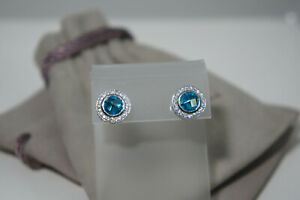 David Yurman 925 Silver 585 Gold Blue TOPAZ Diamond Petite CERISE Earrings Pouch