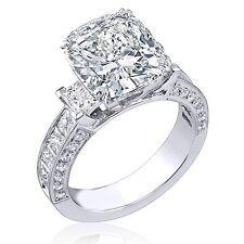 3.09 Ct.Cushion, Princess & Round Cut Diamond Engagement Ring 18K I,VS2 GIA