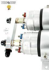 Twin Bosch 044 Fuel Pump Billet Aluminium Assembly OUTLET Manifold In Silver