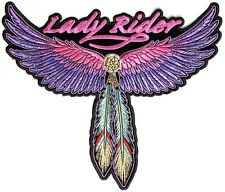 "(L03) Large Lady Rider WINGS FEATHER 8.5"" x 10"" iron on back patch (3118)"