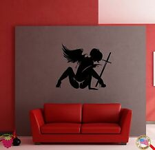 Wall Sticker Wounded Angel With Sword Coolest Decor for Your Place z1392