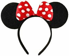 Black With Red Bow & White Polka Dot Minnie Mouse Disney Fancy Dress Ears Hea...