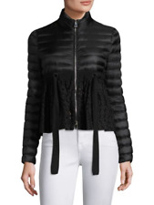 Moncler Serpentine Lace Peplum Puffer Down Jacket NWT Size 3 M/L Black $1130