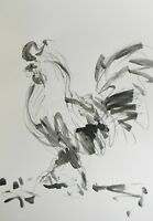 JOSE TRUJILLO - ACRYLIC PAINTING ABSTRACT ROOSTER MODERN ORIGINAL EXPRESSIONIST