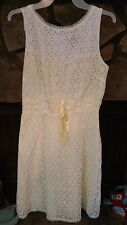 Women's Dress Size 9 White Cut Out Fabric Over Yellow Lining Very Pretty Dainty