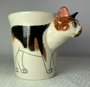 CALICO CAT 3D Head Handle Ceramic Cup Coffee Hand Painted Thailand