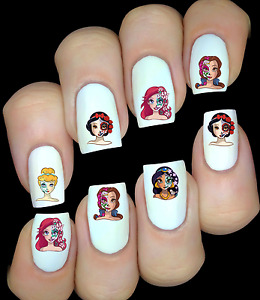 Disney Princesses sugar skull ongles manucure nail art water decal sticker