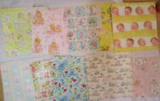 MIXED LOT of DARLING VINTAGE BABY SHOWER GIFT WRAP PAPER 9 DESIGNS 1960-70's NOS
