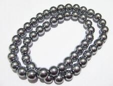 1filo/ 50 pz  perline pietre ematite rotondo 8mm colore argento