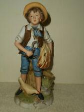 "Vintage Porcelain Bisque Harvest Boy & Chicken Figurine 8881 Homco Japan 8 1/4"""