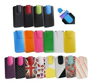 Stylish PU Leather Pouch Case Sleeve has Pull Tab Fits Uhappy Smartphone