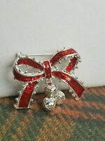 """Vintage Christmas Silver Tone Red Enamel Bow Bell Dangle Brooch Pin Jewelry 1.5"""""""