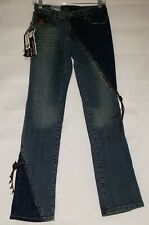 NWT Pepe Jeans London Womens Size 27 Brand New With Leather Trim Dark Blue Jeans