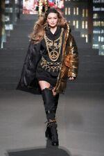 BNWT MOSCHINO H&M Womens Black Gold Embroidered Hoodie Sweatshirt Dress Chains