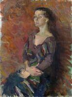 """Russischer Realist Expressionist Öl Leinwand """"Mädchen mit Schal"""" 80 x 60 cm"""