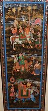 INDIA KING ON A HORSE SCENE ACRYLIC ON SILK PAINTING UNSIGNED