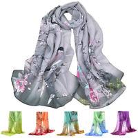 Women Flower Print Cotton Long Scarf Wrap Lady Large Shawl Chiffon Scarves Stole