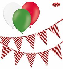 Christmas Bundle Candy Cane Mix Bunting Banner 15 flags & 8 Asst latex balloons