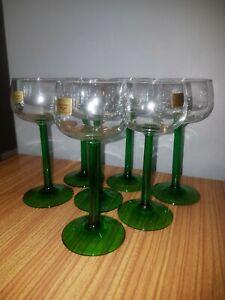 7 Green Stem Hock Glasses Vintage