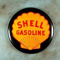"Vintage Enamel Sign Photo Fridge Magnet 2 1/4"" Shell Gasoline Houston 1940's"