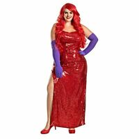 Adult Womens Plus Size Jessica Rabbit Halloween Costume Red Dress Purple Gloves