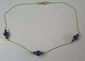 Purple Amethyst Chain Necklace Gold Plated Unique Small Dainty Elegant Cute