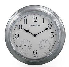 Orologio ALL'APERTO ZINCATO temperatura & umidità funzioni 40.5cm di diametro