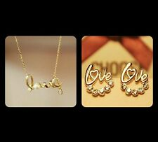 #5029 Gold Plated Love Rhinestone stud earrings and necklace lovers best gift