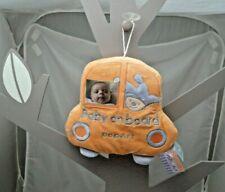 Pop Art voiture orange bleue peluche velours personnalisable Bébé à Bord