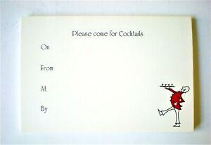 CRANE'S Please Come for Cocktails Set 10 Card Invitations & Envelopes w/Butler