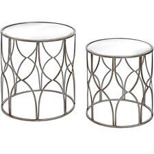 Lattice Detail Mirrored Furniture Silver Grey Round Metal Pair Set of 2 Tables