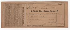 1888 OLD COLONY RAILROAD COMPANY Expense Bill TRAINS RR Train MASSACHUSETTS