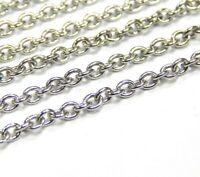 Edelstah Schmuckkette Silber Rund 3 x 2 mm Metall Halskette Chain 1 Meter M423