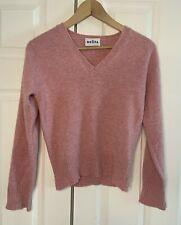 Brora Jumper Size SMALL Pink 100% Scottish Cashmere V-Neck