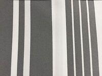 Gray White Multi Striped Oak 100% Waterproof Outdoor Canvas Patio Fabric - BTY