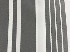 Gray White Multi Striped Oak 100% Waterproof Outdoor Canvas Patio Fabric - BTY