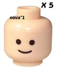 LEGO 5 X SMILEY HEAD  FLESH TONE FOR MINIFIGURE NEW