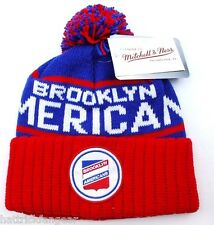 BROOKLYN AMERICANS MITCHELL & NESS NHL TEAM LOGO POM POM KNIT HOCKEY HAT/BEANIE